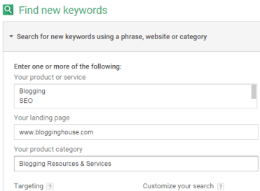 Google Keyword Planner - Rank keywords with backlinks