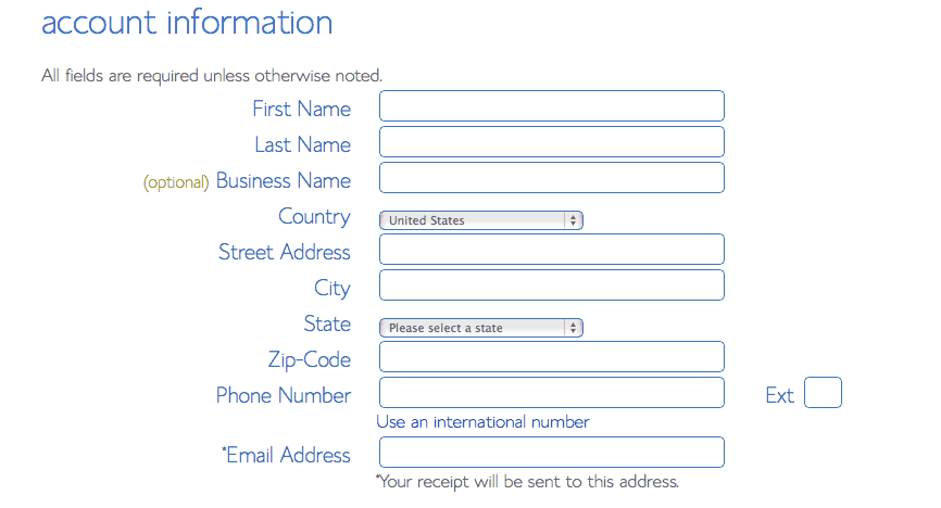 Contact Info Page of Bluehost Hosting