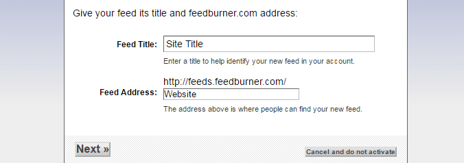 set up feedburner