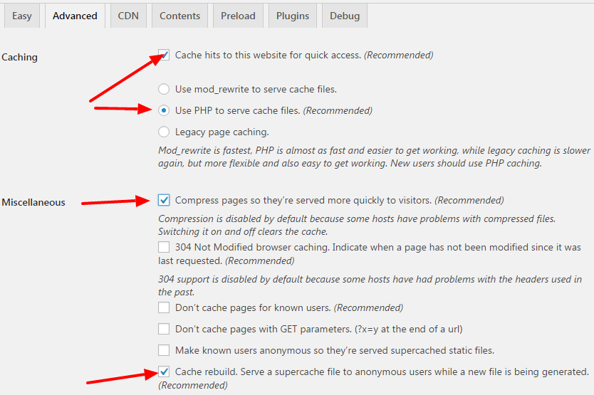 settings of wp super cache