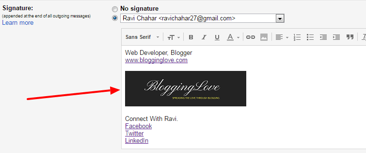 how to set up email signature