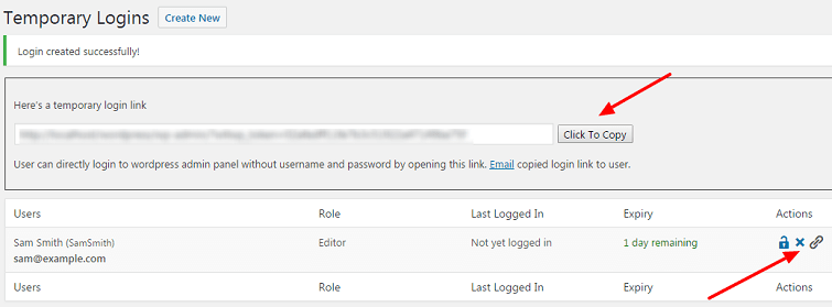 Create temporary login for wordpress without password