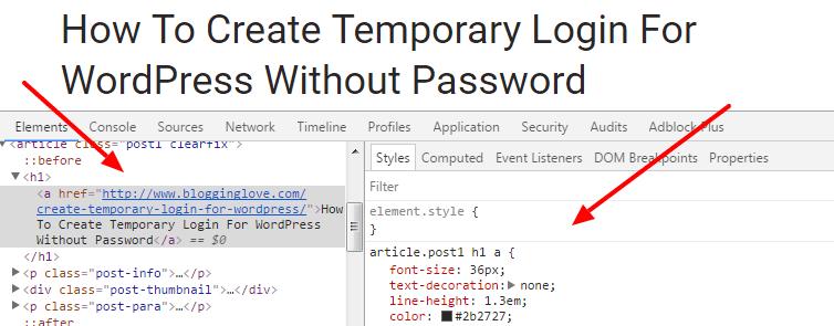 inspect HTML elements