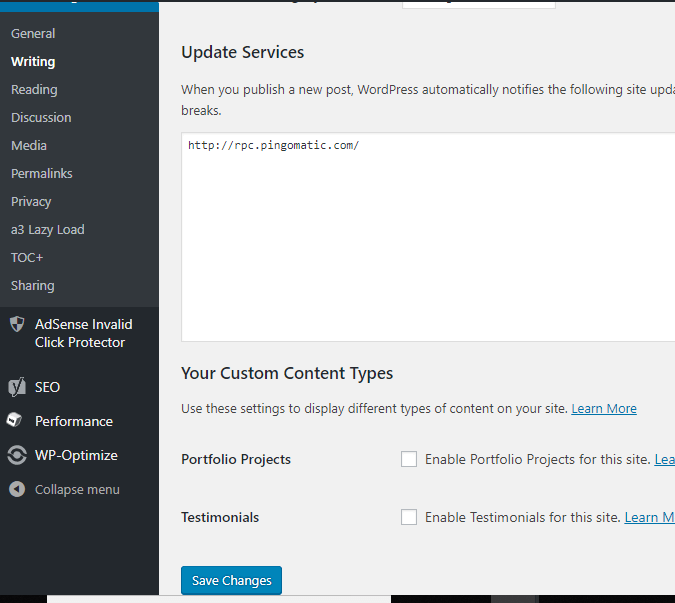 update services ping submission
