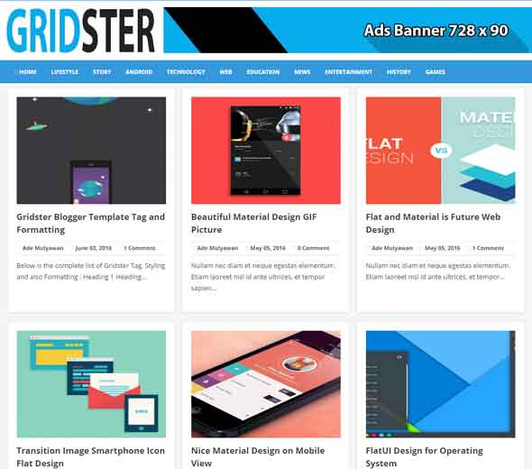 Gridster Free Blogger Template