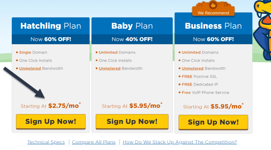 Up To 75% Discount on HostGator Hatchling Plan