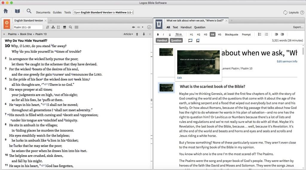Sermon editor tool in Log<a class=