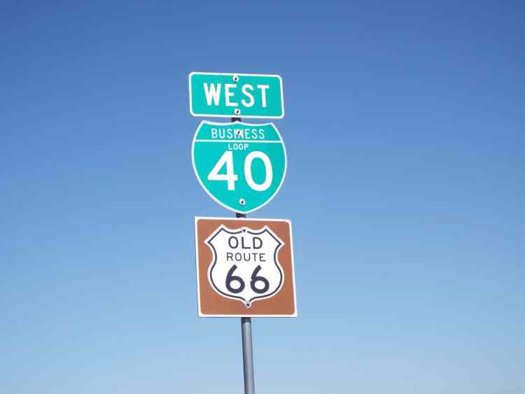 Old Route 66 road sign