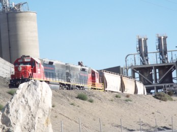 A train running alongside Route 66