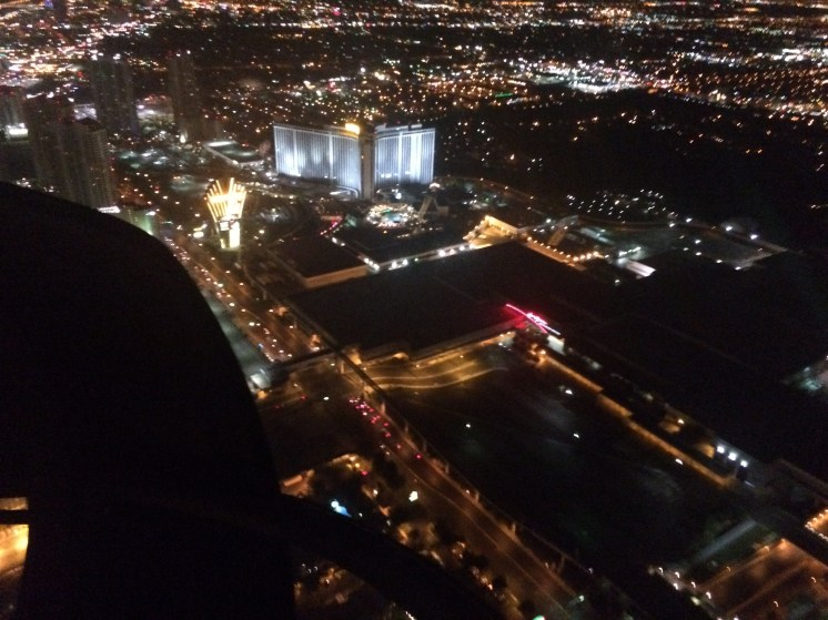Las Vegas Skyline at night from a helicopter