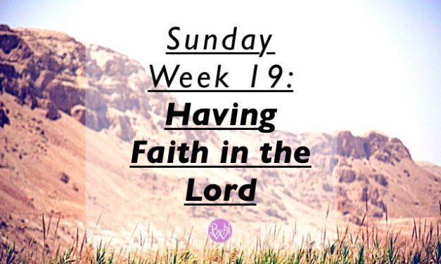 Sunday Week 19: Having Faith in the Lord