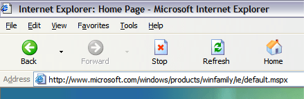 Internet Explorer Button Bar Buttons