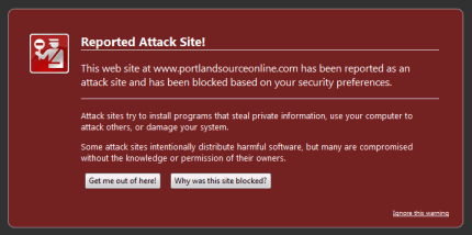Warning of a malware site in FireFox