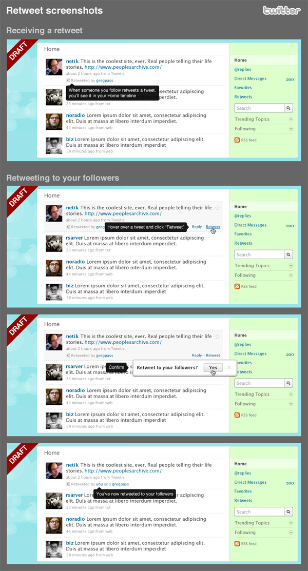 Official Twitter Retweet implementation mockups