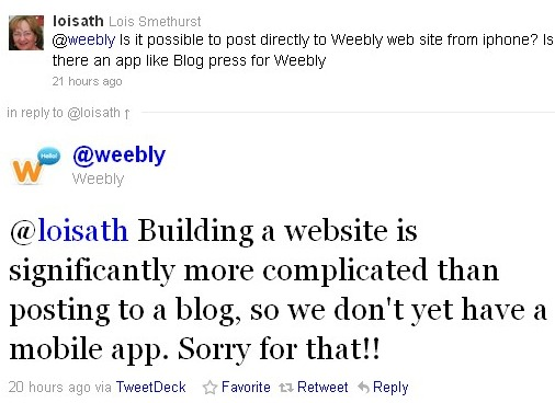 Weebly Dashes Hopes For An iPhone App