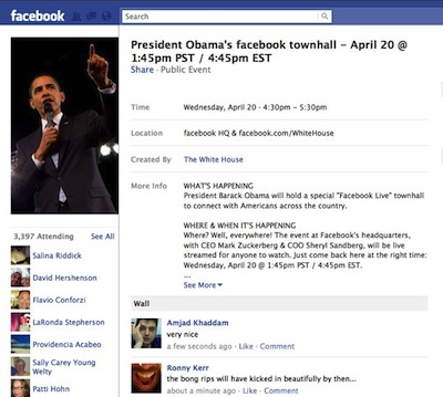 Facebook - President Obama Event Page for Town Hall Meeting