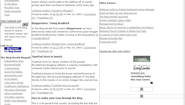 Blog Herald May 2003
