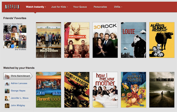Netflix Social Rolls Out Facebook Platform, Enables On System and Network Sharing