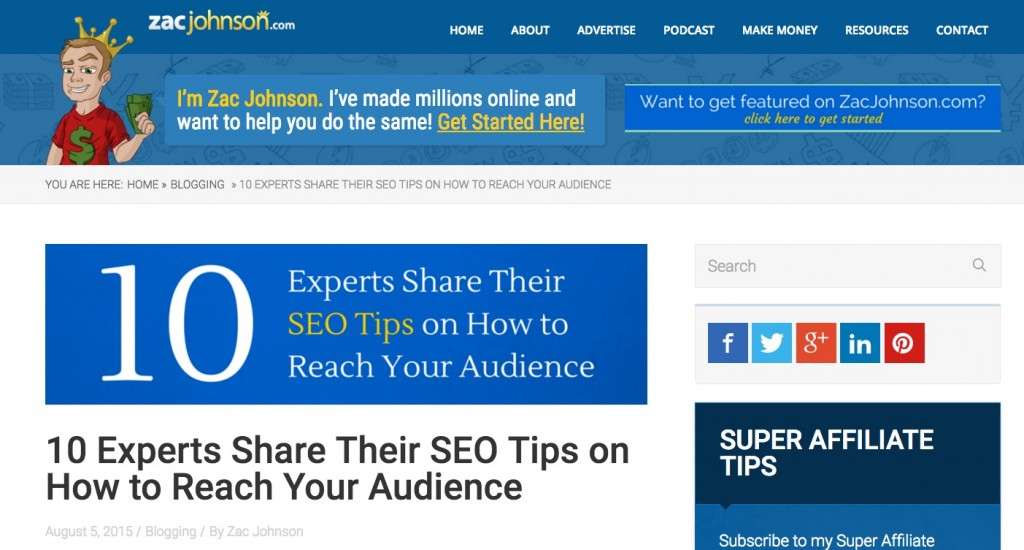 SEO Experts Roundup on ZacJohnson