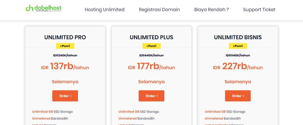 Dobelhost Hosting Murah Unlimited Indonesia Tahun 2020