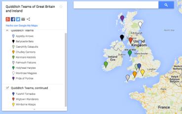 Mapa de los Equipos de Quidditch en Gran Bretaña e Irlanda en Google Maps