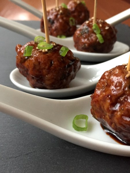Asian-Style Sticky Meatballs, served as little bites