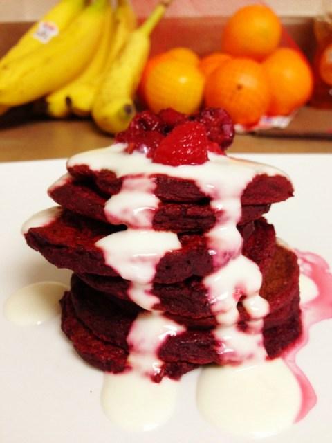 red velvet pancake stack