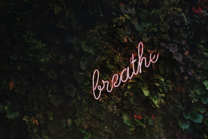 blogilates self care breathe pink neon sign