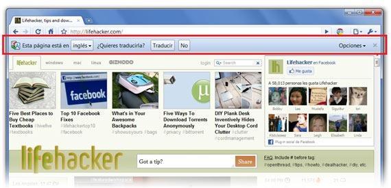 Barra de traducción automática en Google Chrome