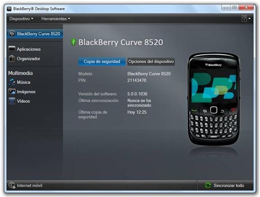 BlackBerry Desktop Software - Copia de seguridad