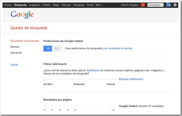 Desactivar filtro SafeSearch de Google