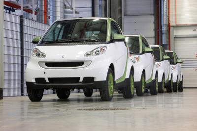 smart debutto del MY2010 e avvio della produzione della fortwo electric drive
