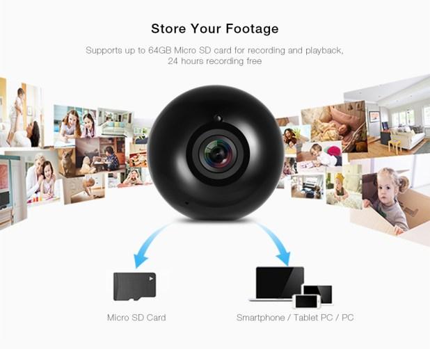 SRICAM SP022 HD WiFi IP camera 360 gradi