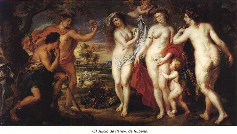 juicio Paris Atenea Afrodita Hera Rubens