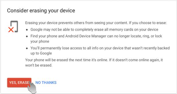 حذف بيانات الهاتف بالكامل