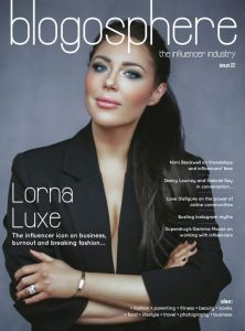 Lorna Luxe in a suit for issue 22 of Blogosphere Magazine