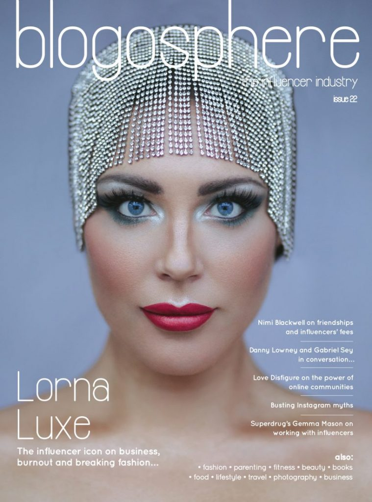 Lorna Luxe in a headpiece for issue 22 of Blogosphere Magazine