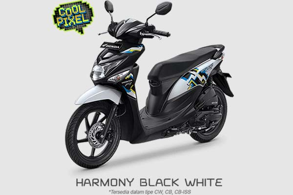 Pilihan Warna Honda BeAT POP Cool Pixel warna Hitam Putih