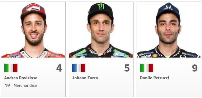 Nama Pembalap MotoGP 2018 Dovizioso, Zarco, Petrucci