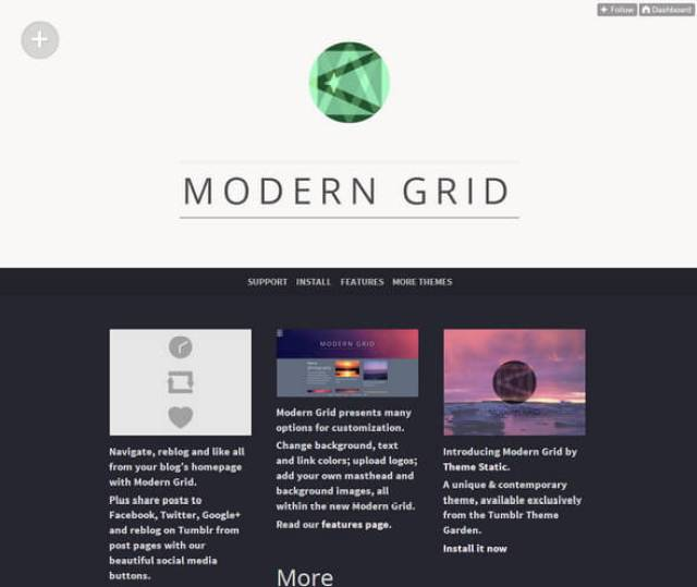 Modern Grid Tumblr theme
