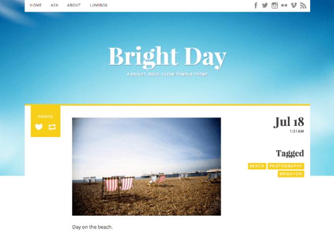 One Column Tumblr Theme -Bright Day
