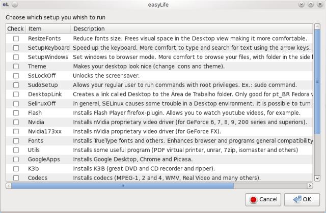 Easy Life em ação no Fedora 14