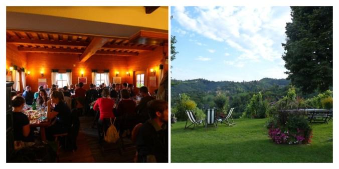 Snapshots of dinner at a traditional Buschenschank during the Autumn Seminar