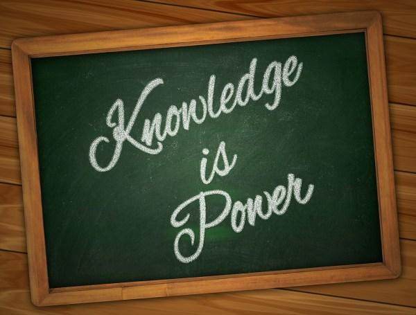 The words 'Knowledge is Power' written on a blackboard