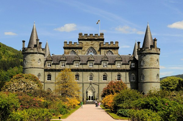 Front of Inverary Castle, with round towers at corners