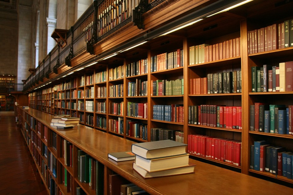 Shelves of books in a library