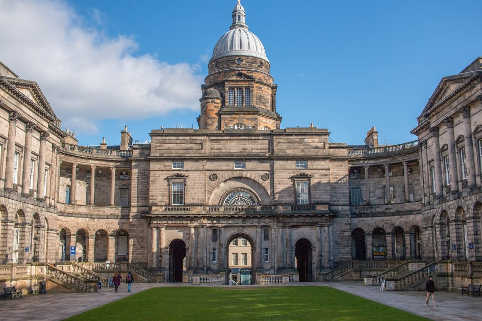 University of Edinburgh Old College, neoclassical building surrounding grass lawn