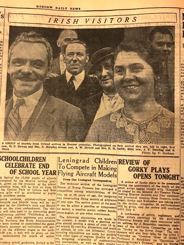 Newspaper clipping showing Irish tourists in Moscow