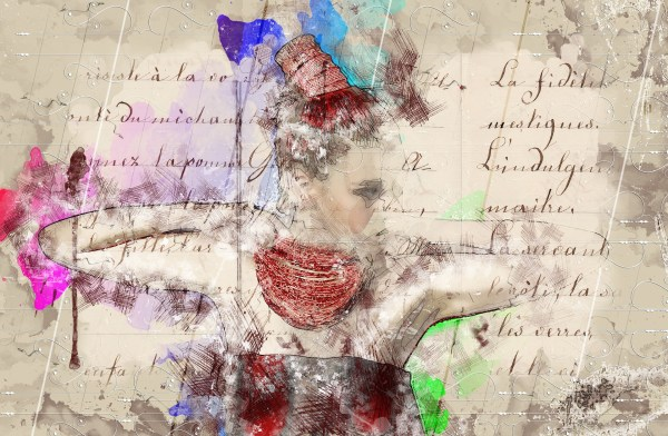 Collage of female figure and undeciferable text