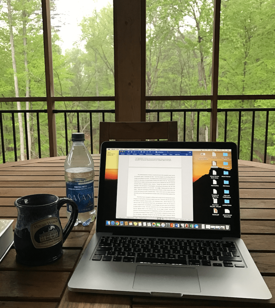 laptop on porch for writing